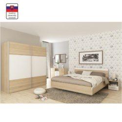 GABRIELA Hálószoba szett (szekrény+ágy 180x200+2 db éjjeliszekrény) sonoma tölgy/fehér
