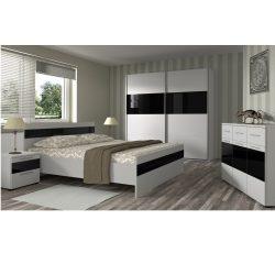 DEVON NEW Hálószoba fehér/magasfényű fekete