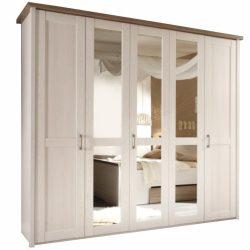 LUMERA 5 ajtós szekrény tükörrel, mandulafenyő fehér/sonoma tölgy trufla