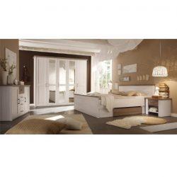 LUMERA Hálószoba komplett, mandulafenyő fehér/sonoma tölgy trufla