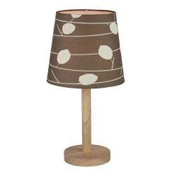 QENNY TYP 6 fából készült asztali lámpa kombinálva szövet mintás burával