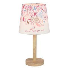 QENNY TYP 8 fából készült asztali lámpa kombinálva virág mintás szövet burával