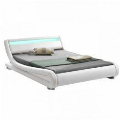 FILIDA Luxus modern ágy, 160x200 cm, laminált ráccsal RGB LED világítással fehér