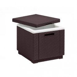 Ice Cube multifunkciós tároló, asztal és puff barna színben