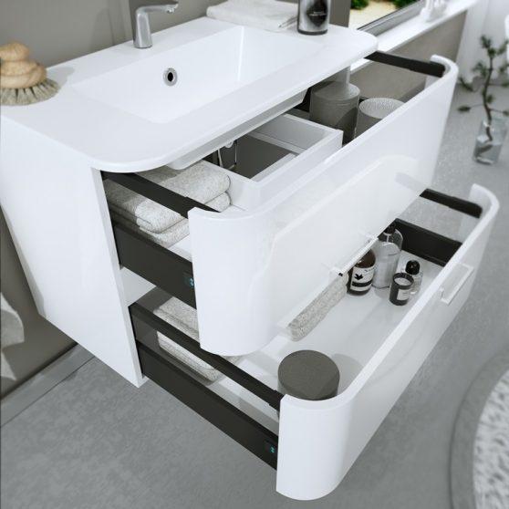 Greta 100 fürdőszobabútor öntöttmárvány mosdóval, tükörrel