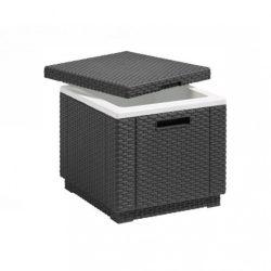 Ice Cube multifunkciós tároló, asztal és puff grafit színben