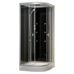 Fekete 90x90 cm íves hidromasszázs zuhanykabin