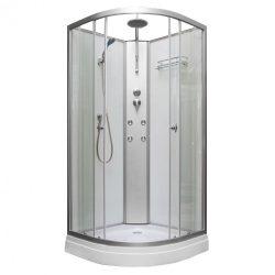 Lora hidromasszázs zuhanykabin, fehér hátfallal