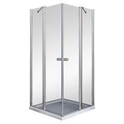 Szögletes nyílóajtós zuhanykabin fix falrésszel, zuhanytálca nélkül