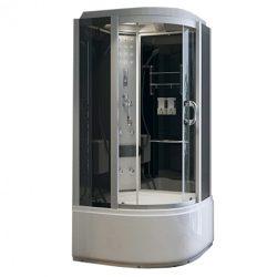 Hidromasszázs kabin,mély tálca, fekete üveg hátfal gőzrendszerrel