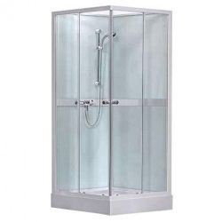 Simple Square szögletes, üveg hátfalas zuhanykabin zuhanytálcával