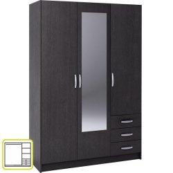 Slot 3-ajtós gardróbszekrény 3 fiókkal és tükörrel