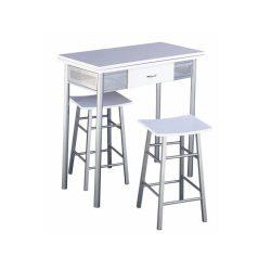 HOMER Bár szett összecsukható asztallal + 2 szék ezüst/fehér