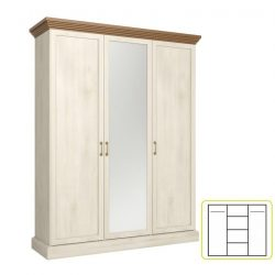 ROYAL S3D Akasztós szekrény polcokkal, tükörrel, északi erdei fenyő/tölgy