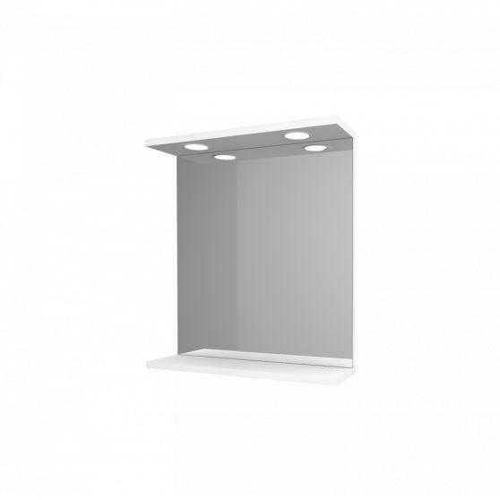 Toscano Új fürdőszoba tükör 55 cm LED megvilágítással, magasfényű festett fehér polcos