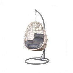 ALANISDG függő fotel sötét szürke színben - bézs kosárral