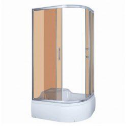 AZALIA 120 íves aszimmetrikus mélytálcás zuhanykabin, barna füstös üveggel