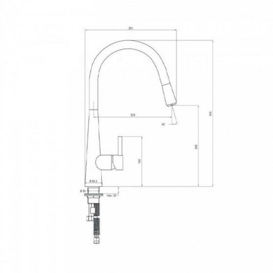 Aster mosogató csaptelep U alakú kihúzható kifolyócsővel