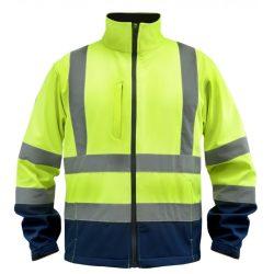 Softshell dzseki fényvisszaverős, méret: XL, sárga