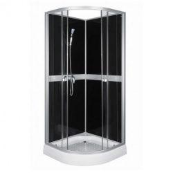 Classic 80x80 cm Black hátfalas zuhanykabin zuhanytálcával