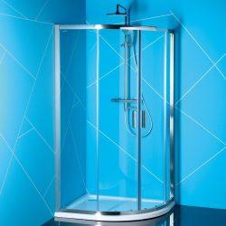 Polysan easy line 80x90 cm íves aszimmetrikus zuhanykabin zuhanytálca nélkül