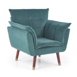 Rezzo sötétzöld fotel sötét dió lábbal
