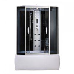 Emilia 85x150 cm hidromasszázs kádkabin elektonikával Black