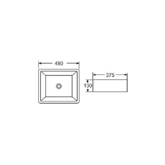 K720 Kerámiamosdó, ráépíthető, síklapos, szögletes