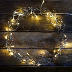 Elemes LED fénykoszorú átlátszó kábellel, meleg fehér színben