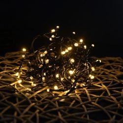 LED meleg fehér fényfüzér 8 programos vezérlővel (fekete kábel)