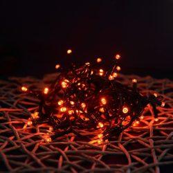 LED piros fényfüzér 8 programos vezérlővel (fekete kábel)