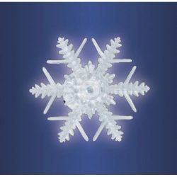 LED-es ablakdísz, hókristály, beltéri kivitel, öntapadós, hidegfehér LED, mérete: Ø 10 x 3,5 cm