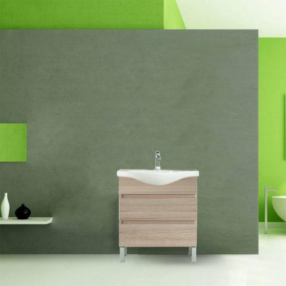 Seneca 75 cm-es bútorhoz alsószekrény, mosdóval, Sonoma tölgy