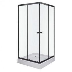 Olga SQ Black 80x80 cm szögletes zuhanykabin zuhanytálcával