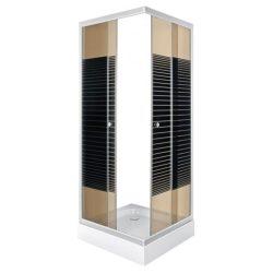 PICO szögletes zuhanykabin csíkos üveggel zuhanytálcával
