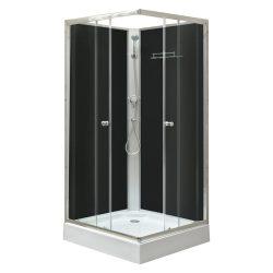 Polo Black II szögletes fekete hátfalas zuhanykabin, akril zuhanytálcával