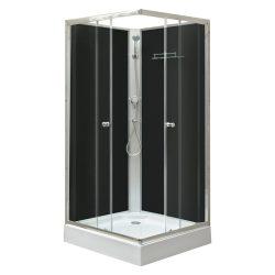 Polo Black II 90x90 cm szögletes fekete hátfalas zuhanykabin zuhanytálcával