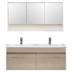 Primo 120 komplett fürdőszoba bútor tükörfényes fehér-sonoma tölgy színben