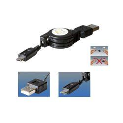 Töltőkábel, micro USB, felcsévélhető, 0,7m