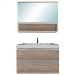 SOL 80 komplett fürdőszoba bútor 2 ajtós tükrös felső résszel, rauna szil