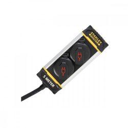 STANLEY 2-es elosztó, övcsipesszel, IP44, 5m kábel, H07RNF 3G1,5