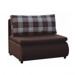 Kinyitható fotel, barna-káró minta, KENY NEW