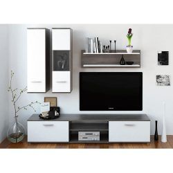 WAW NEW Nappali szekrénysor, tölgyfa trüffel/fehér,