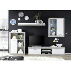KLARK Nappali szekrénysor, fehér/beton