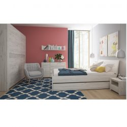 Hálószoba garnitúra, (szekrény, ágy 160x200, 2x éjjeliszekrény), fehér craft, ANGEL