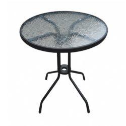 BORGEN TYP 1 Étkezőasztal, fekete acél/edzett üveg