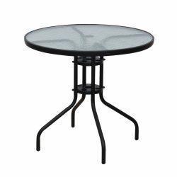 BORGEN TYP 2 Étkezőasztal, fekete acél/edzett üveg
