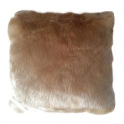 Párna, báránybőr utánzat, bézs, 45x45, ROSALINE
