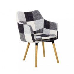 Fotel, fehér-fekete minta patchwork-bükk, LANDOR