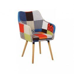 Fotel, színes patchwork-bükk, LANDOR